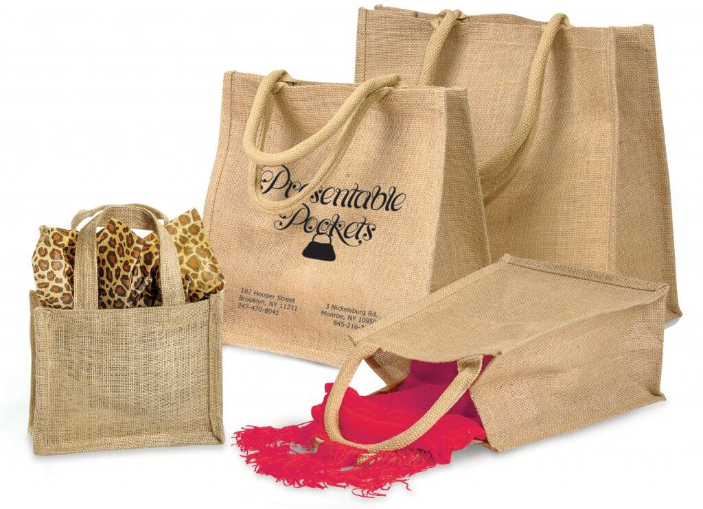 Reusable Burlap totes from Nashville Wraps