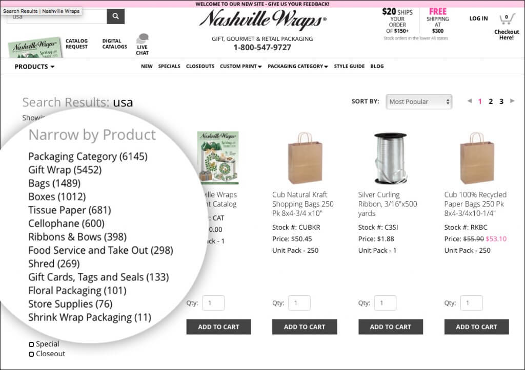 Filter your search on the Nashville Wraps website