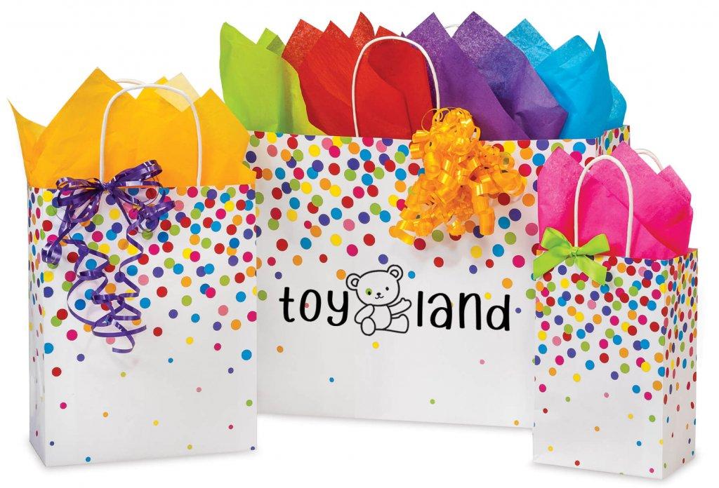 Custom printed rainbow confetti bags
