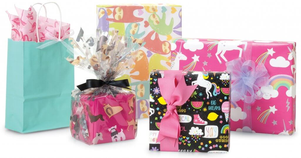 Colorful characters - gift wrap, cello, tissue and more from Nashville Wraps