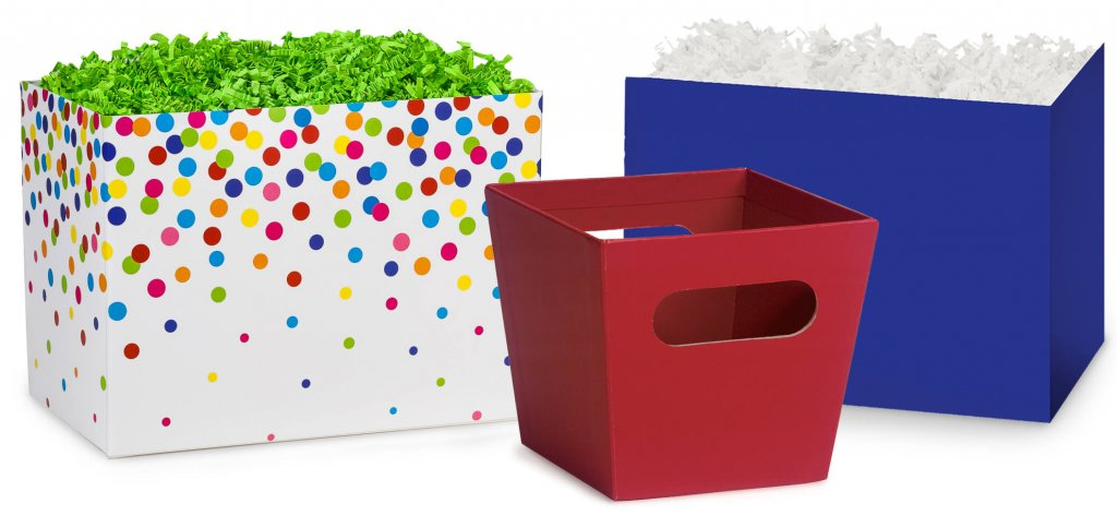 rainbow confetti basket boxes