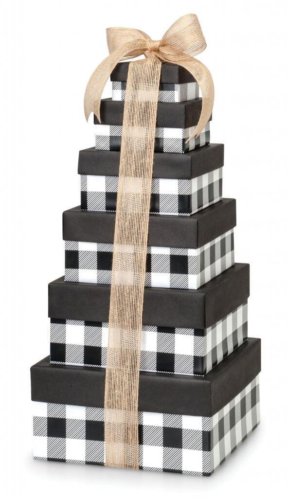 Buffalo Plaid Black Nested Box Tower from Nashville Wraps