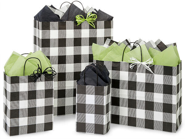 Buffalo Plaid Black Paper Shopping Bags from Nashville Wraps