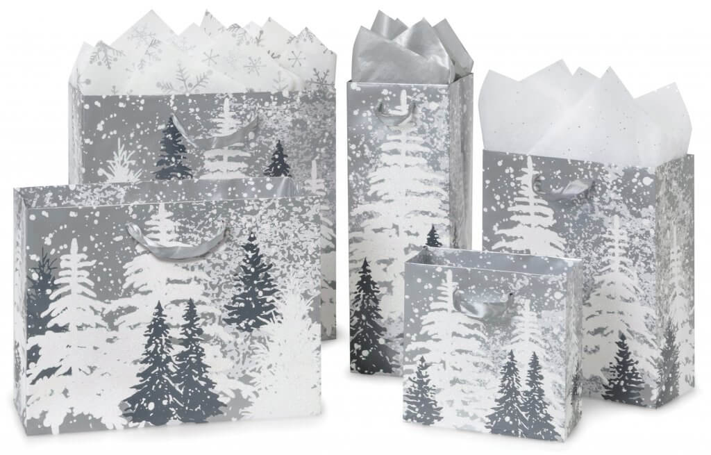 frosted forest gift bags group