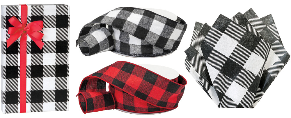Buffalo Plaid Gift Wrap, Ribbon and Tissue from Nashville Wraps