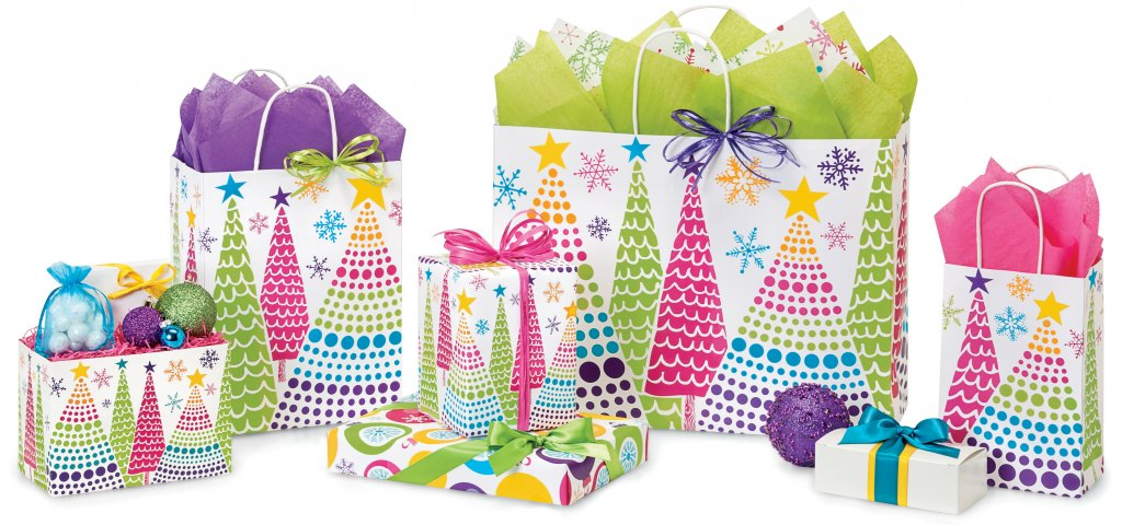 The Bright Trees Christmas packaging collection from Nashville Wraps includes gift wrap, basket boxes & more!