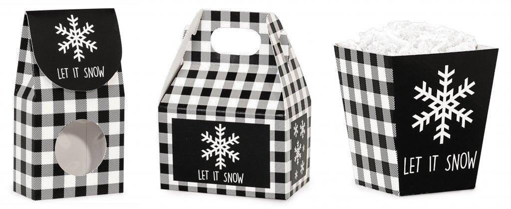 Let it Snow plaid treat boxes