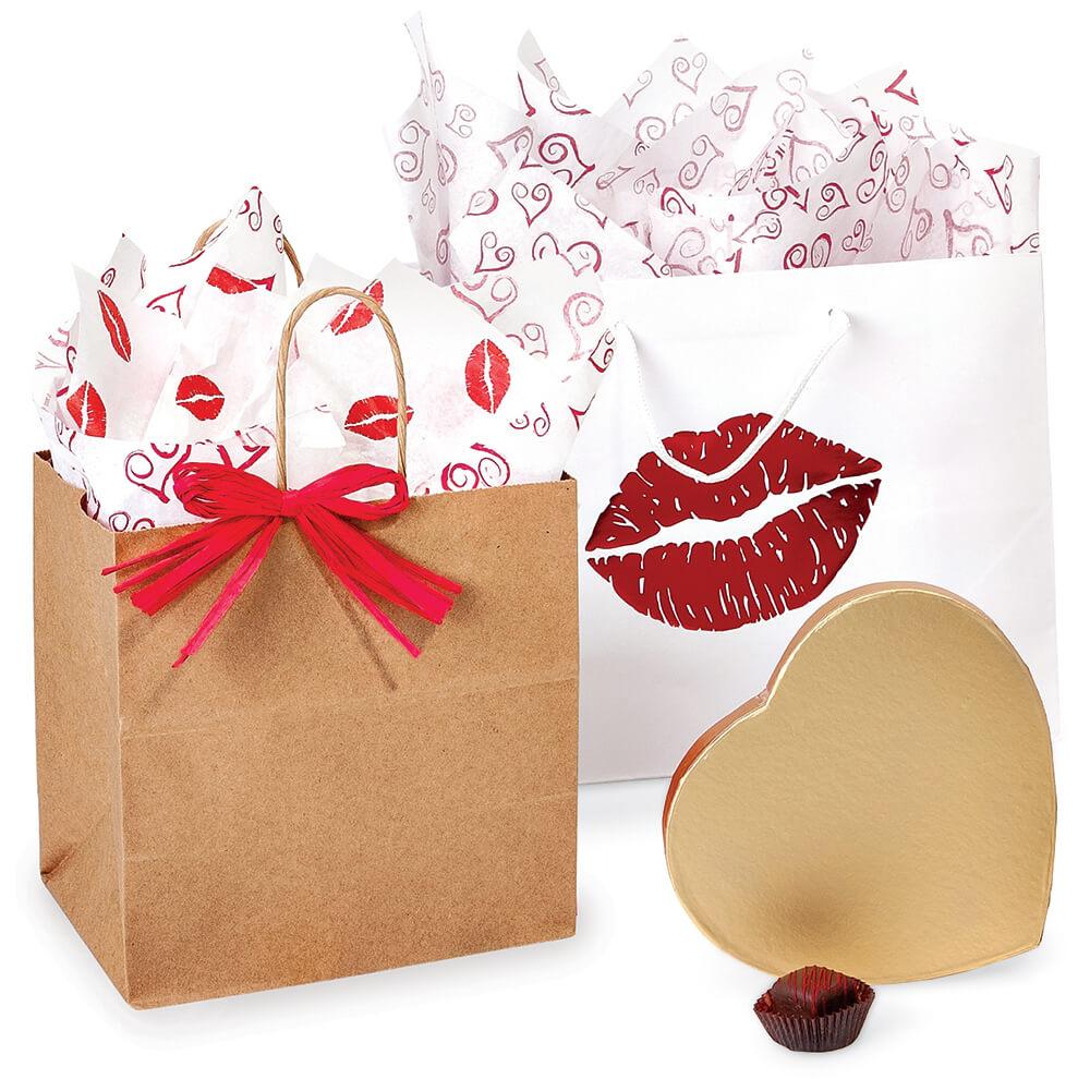 valentine gift bags tissue