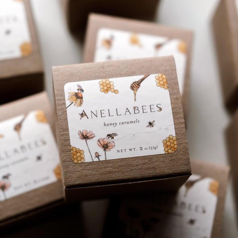 Anellabees Honey Caramels using Nashville Wraps boxes