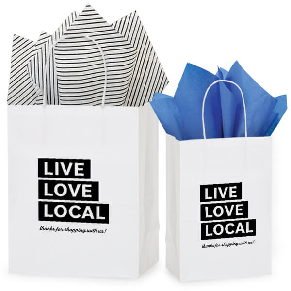 "Thank your customers for shopping local with these fun ""Live Love Local"" bags!"