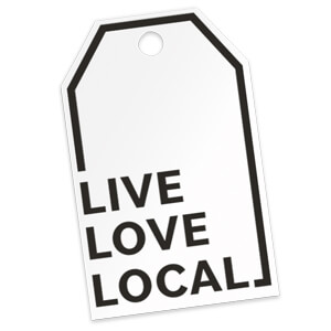 """Live Love Local"" gift tags make a wonderful addition to your packaging"