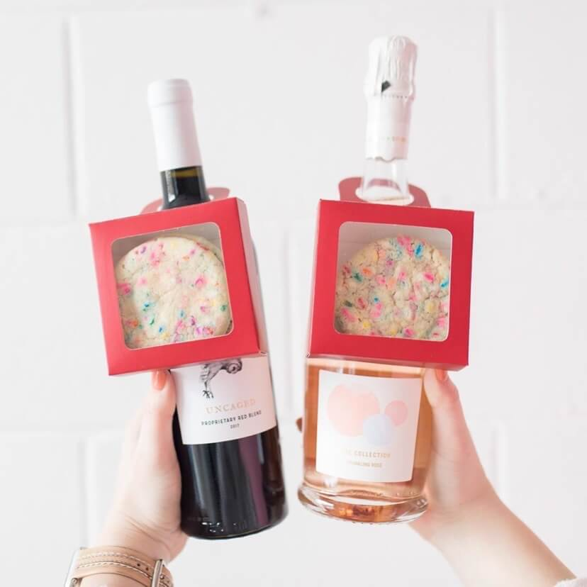 The Cheesecake Girl Cookie Wine Tags using Nashville Wraps packaging