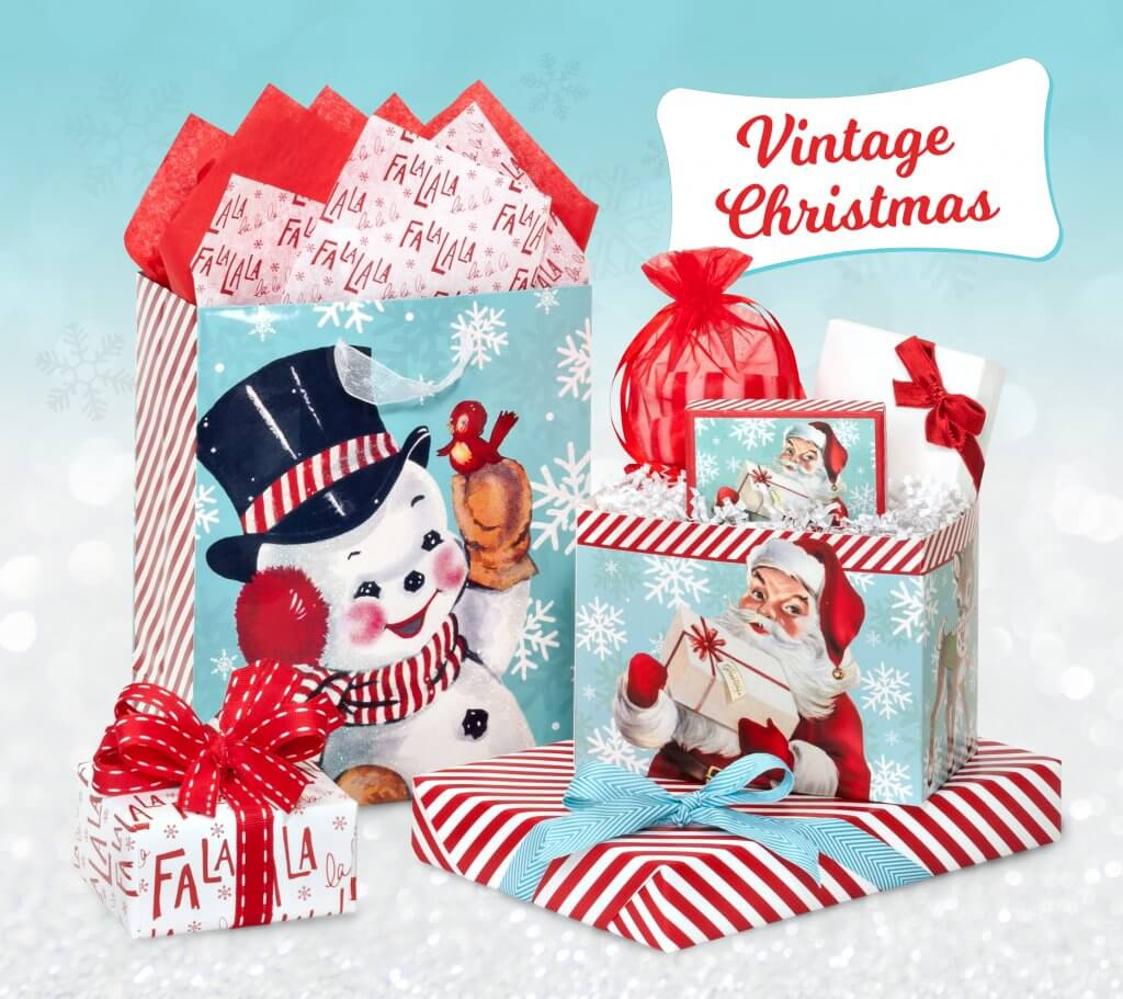 vintage christmas paper gift bags